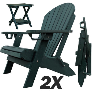 Set of 2 - DuraWeather Poly® Unwind Edition Classic King Size Folding Adirondack Chairs With Built In Cupholders + 1 Folding End Table With Removable Tray