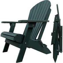 Load image into Gallery viewer, DuraWeather Poly® King Size Folding Adirondack Chair - (Natural Forest Green)