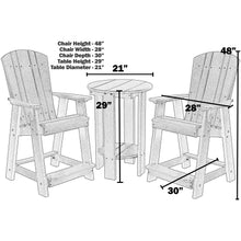 Load image into Gallery viewer, polywood furniture, patio furniture, bistro set, counter chairs, counter table set, poly resin furniture, polywood, duraweather poly, berlin gardens, sister bay furniture, recycled furniture, poly furniture, poly, outdoor furniture, bar chairs, bar set, outdoor bar set