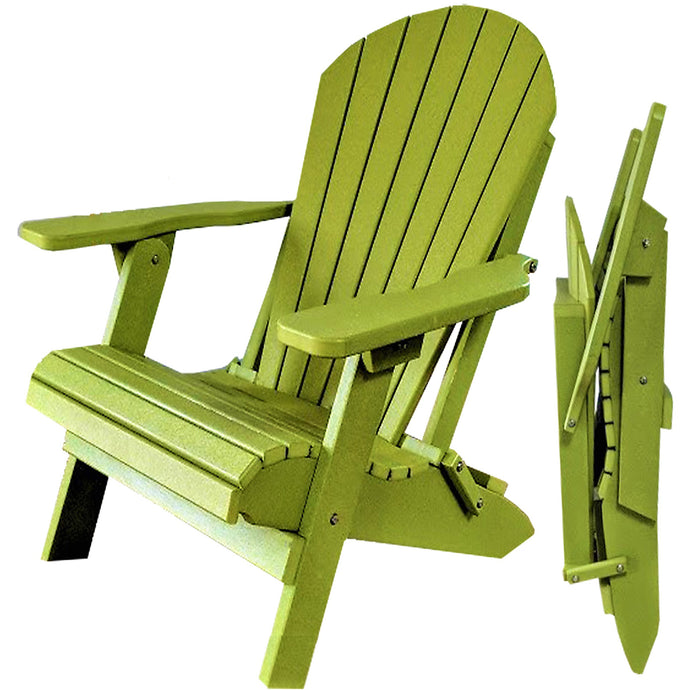 DuraWeather Poly® King Size Folding Adirondack Chair (Kiwi Green)