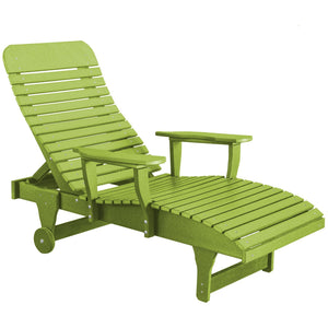duraweather polywood kiwi green adjustable chaise lounge with wheels