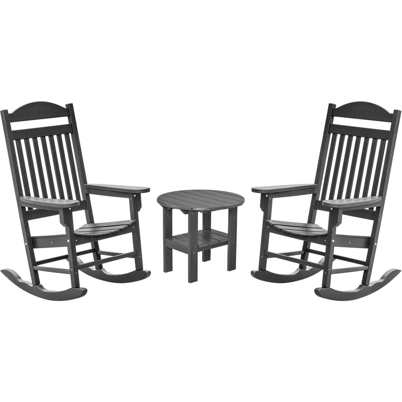 DuraWeather Poly® Set of 2 Mission Style Porch Rockers With A Round End Table