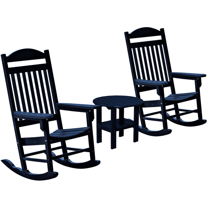 DuraWeather Poly® Set of 2 Traditional King Size Porch Rocker With Round End Table