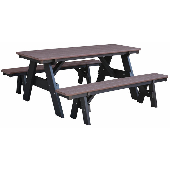 DuraWeather Poly® Picnic Table With Unattached Benches (Chocolate Brown on Black)