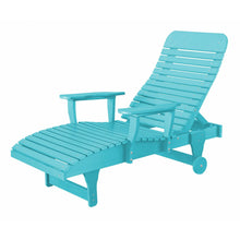 Load image into Gallery viewer, duraweather polywood aruba blue adjustable chaise lounge with wheels