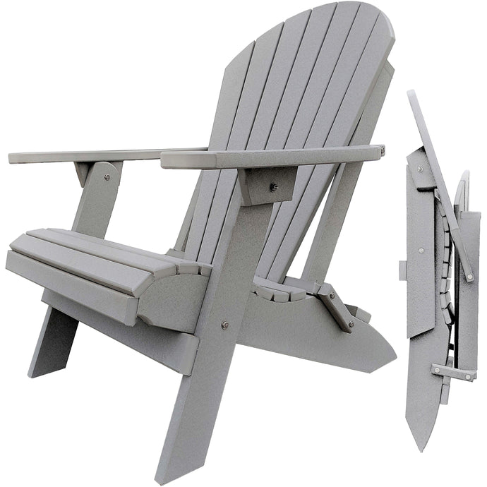 DuraWeather Poly® King Size Folding Adirondack Chair - (Cottage Light Grey)