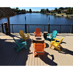 DuraWeather Poly® King Size Folding Adirondack Chair - (Aruba Blue)