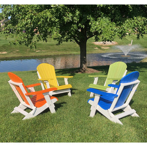 DuraWeather Poly® King Size Folding Adirondack Chair - (Strawberry Red on White)