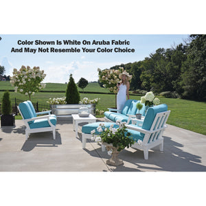 DuraWeather Poly® Princeton Estates Club Swivel Rocker Lounge Chair (White Frame on Sunbrella® Canvas Aruba Fabric)