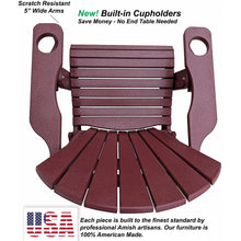 Load image into Gallery viewer, DuraWeather Poly® Premium King Size Folding Adirondack Chair with Built-in Cup Holders - (Merlot Burgundy)