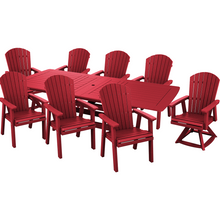 Load image into Gallery viewer, DuraWeather Poly® 9 pc. Classic Adirondack Extension Dining Table Set With Two Swivel Chairs