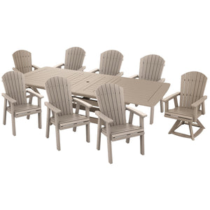 DuraWeather Poly® 9 pc. Classic Adirondack Extension Dining Table Set With Two Swivel Chairs