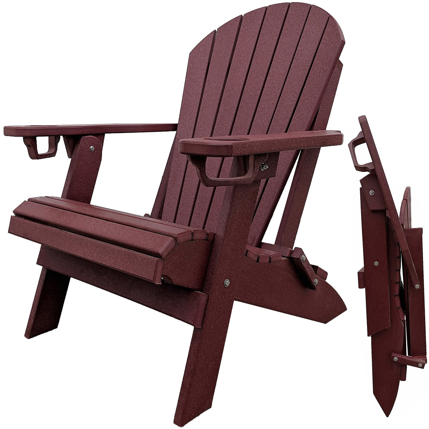 DuraWeather Poly® Premium King Size Folding Adirondack Chair with Built-in Cup Holders - (Merlot Burgundy)