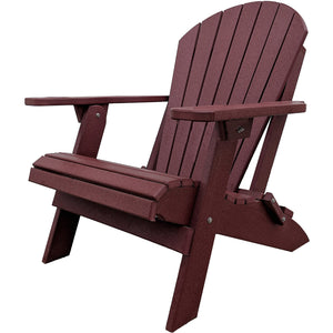 DuraWeather Poly® King Size Folding Adirondack Chair - (Merlot Burgundy)