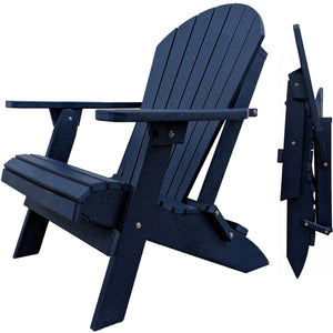 DuraWeather Poly® Set of 4 Classic King Size Folding Adirondack Chairs - 4 Folding Ottomans and 2 Folding End Tables