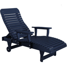 Load image into Gallery viewer, duraweather polywood navy adjustable chaise lounge with wheels