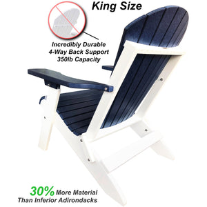 DuraWeather Poly® King Size Folding Adirondack Chair - (Nautical Blue on White)