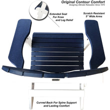 Load image into Gallery viewer, DuraWeather Poly® King Size Folding Adirondack Chair - (Nautical Blue on White)