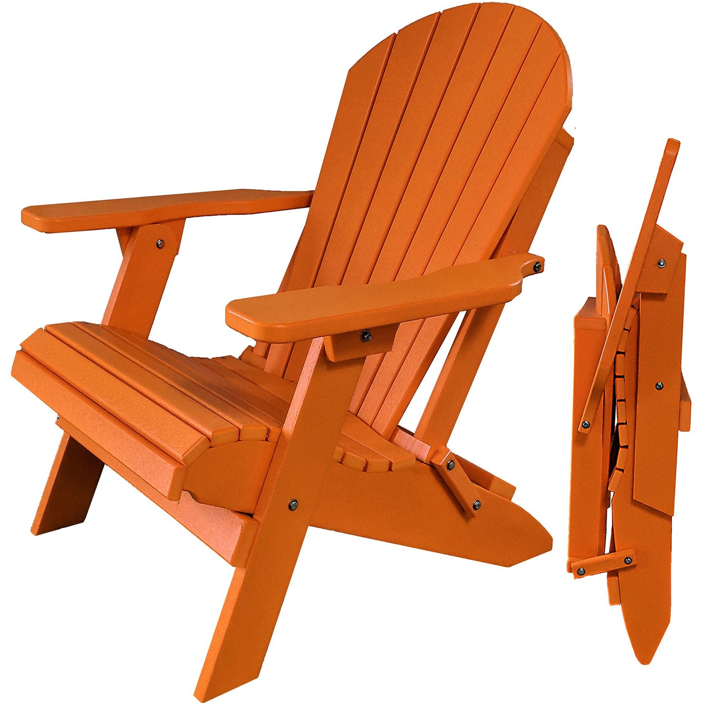 DuraWeather Poly® King Size Folding Adirondack Chair - (Mango Orange)