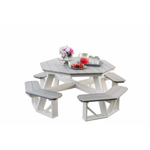 "DuraWeather Poly® Octagon Picnic Table (7'3""' x 4'6"" ft) Driftwood Grey on White"