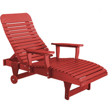 Load image into Gallery viewer, duraweather polywood red adjustable chaise lounge with wheels