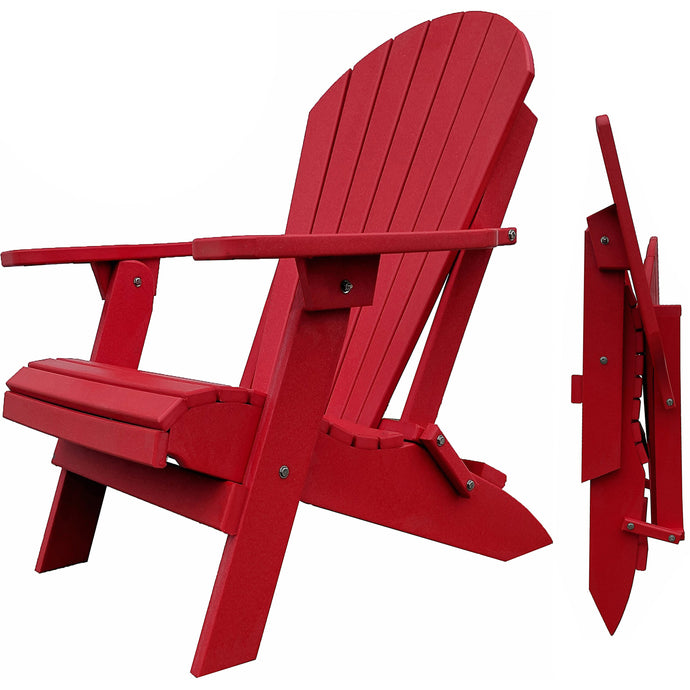 DuraWeather Poly® King Size Folding Adirondack Chair - (Strawberry Red)