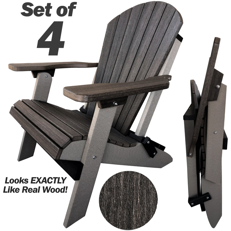 Set of 4 - DuraWeather Poly® Signature Collection King Size Folding Adirondack Chair