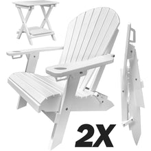 Load image into Gallery viewer, Set of 2 - DuraWeather Poly® Unwind Edition Classic King Size Folding Adirondack Chairs With Built In Cupholders + 1 Folding End Table With Removable Tray