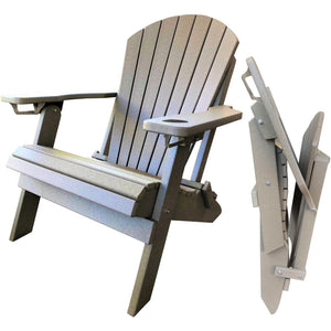 DuraWeather Poly® King Size Folding Adirondack Chair with Built-in Cup Holders (20+ Color Options!)