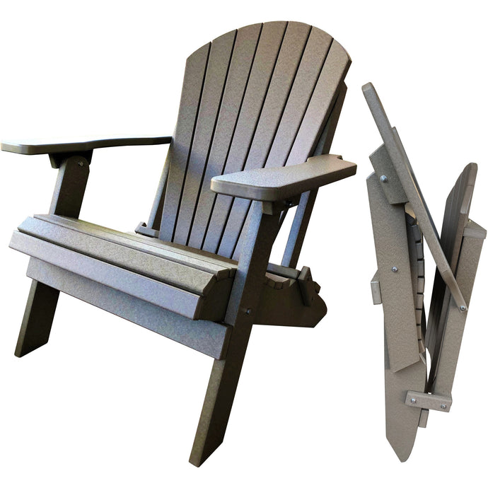 DuraWeather Poly® King Size Folding Adirondack Chair - (Birchwood Taupe)