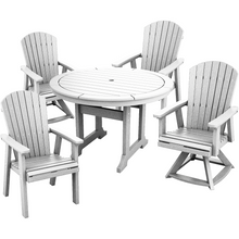 "Load image into Gallery viewer, DuraWeather Poly® 5 pc. 48""rd Classic Adirondack Dining Set with Two Swivel Rockers"