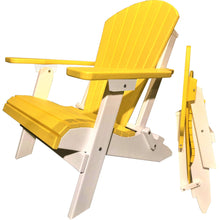 Load image into Gallery viewer, DuraWeather Poly® King Size Folding Adirondack Chair - (Lemon Yellow on White)