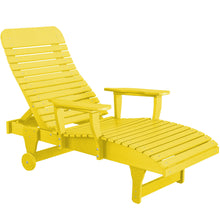 Load image into Gallery viewer, duraweather polywood yellow adjustable chaise lounge with wheels