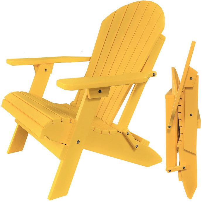 DuraWeather Poly® King Size Folding Adirondack Chair - (Lemon Yellow)