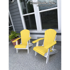 DuraWeather Poly® King Size Folding Adirondack Chair - (Lemon Yellow on White)