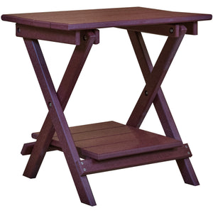 duraweather polywood rustic outdoor patio furniture folding end table with removable shelf