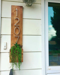 House Number Planter - Ebony & White Design