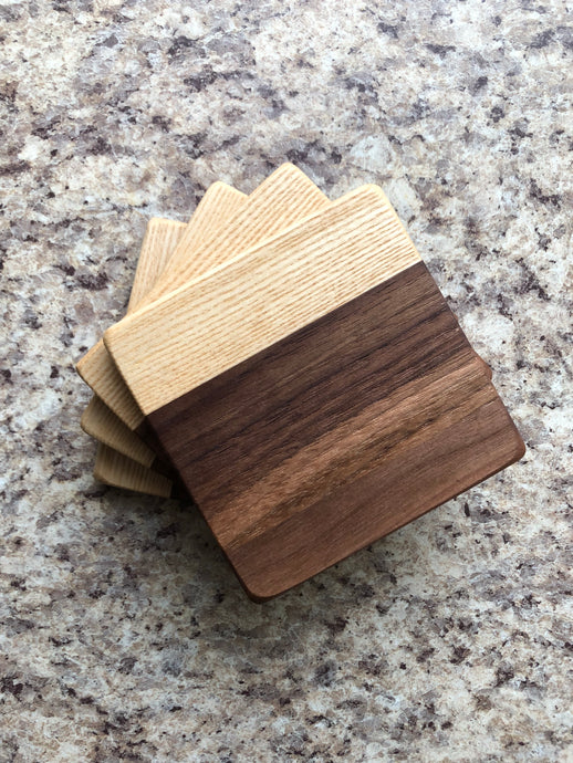Walnut & Ash Coasters - Ebony & White Design