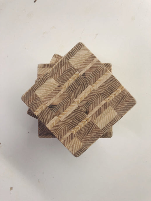 End Grain Ash Coasters - Ebony & White Design