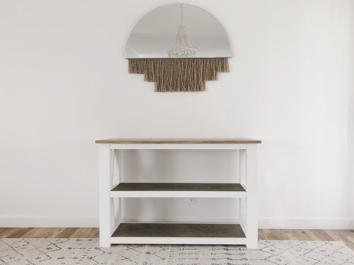 Chunky X Base Console Table - Ebony & White Design