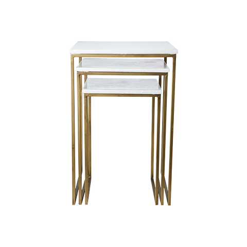 Milan Table Set de 3 table gigognes | Blanc et Laiton
