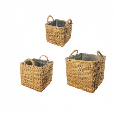 NATURA SQUARE FLOWER POTS SÌA │ Lot de 3