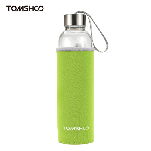 TOMSHOO Outdoor Sport Glass Water Bottle with Tea Filter Infuser Protective Bag Sleeve 550ml Eco-Friendly