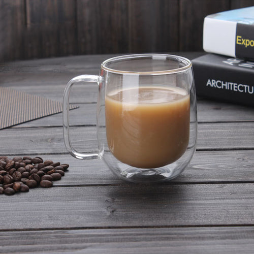 300ml Handmade Heat Resistance Double Wall Clear Glass Cup Coffee Milk Tea Mug