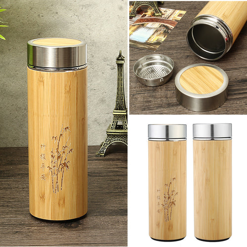 450ml Carving Pattern Double Wall Bamboo Stainless Steel Tea Cup Water Bottle