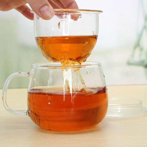 320ml Clear Glass Heat Resistant Tea Mug Coffee Cup with Tea Infuser Filter&Lid
