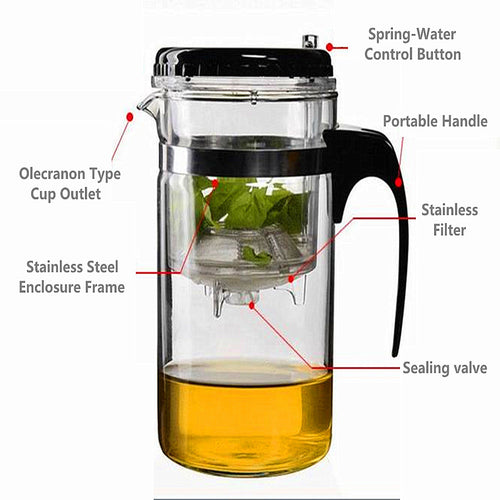 500ml Straight Glass Leaf Infuser Tea Cup Teapot Gongfu Tea Maker Press Washable