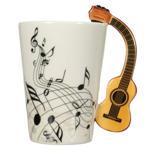 Porcelain Guitar Handle Shape Music Note Cup Coffee Tea Bottle Water Mug Gift