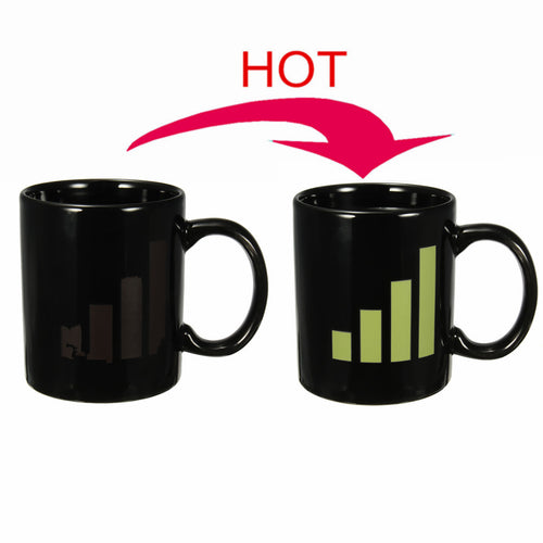 Magic Wifi Signal Bar Change Coffee Tea Milk Hot Cold Heat Sensitive Cup Mug