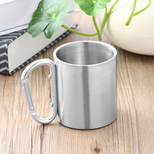 Outdoor Stainless Steel Water Tea Coffee Mug Self Lock Camping Portable Cup